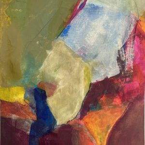ruminating Oil and cold wax on paper