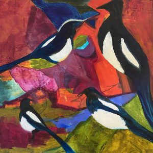 Magpies Oil and cold wax on paper