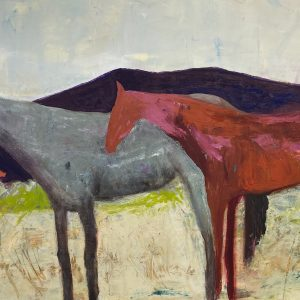Horses at Rest Oil and cold wax by Caroline M Young
