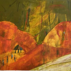 Walking Each Other Home Oil and cold wax by Caroline Young